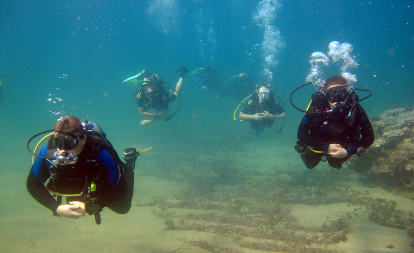 Divers being guided at Cabo de Palos